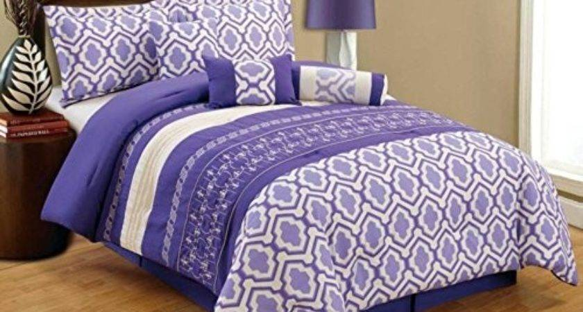 Purple White Grey Quilted Comforter Set