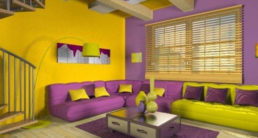 Purple Yellow Room Design Decoration