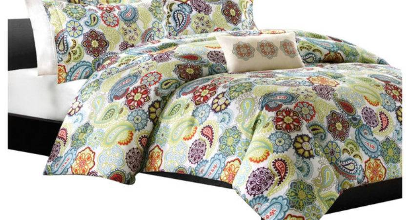 Queen Colorful Paisley Pattern Piece Comforter