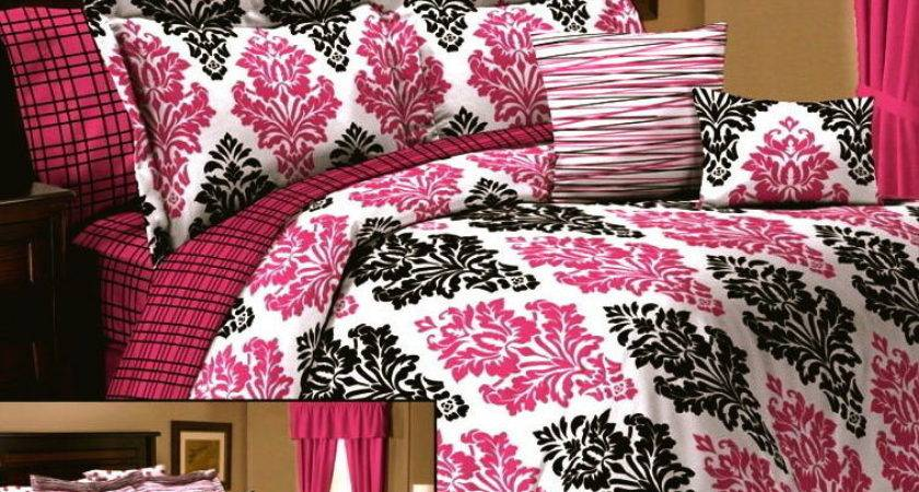 Queen Twin Girl Dorm Pink Black White Damask