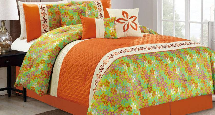 Quilted Diamond Floral Embroidery Flock Comforter Set