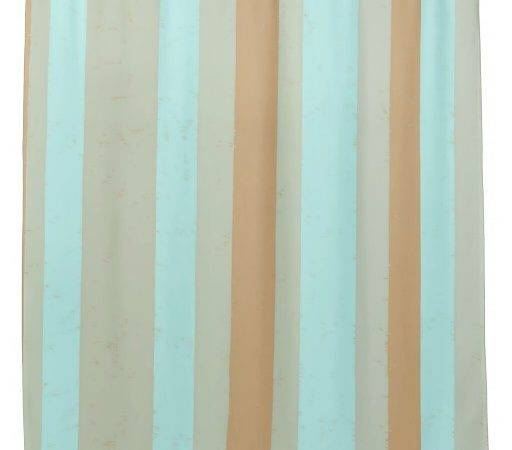 Random Wide Flecked Stripes Turquoise Taupe Tan Shower