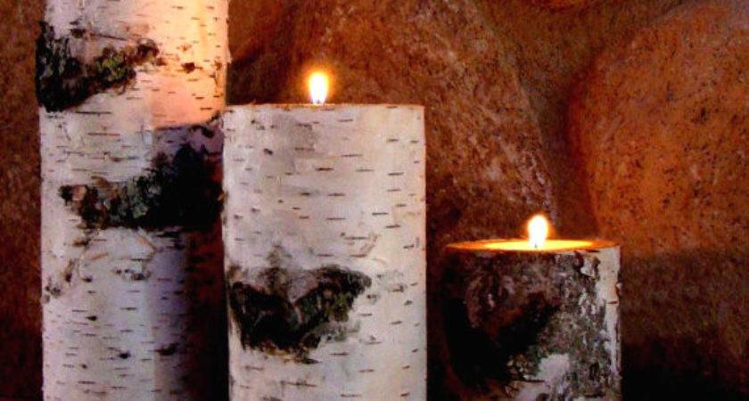 Real Birch Log Candle Holder Set
