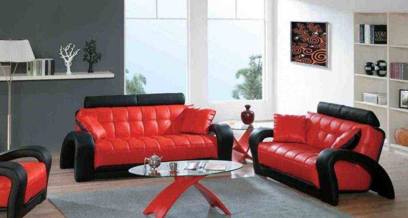 Red Black Living Room Set Oval Glass Coffee Table
