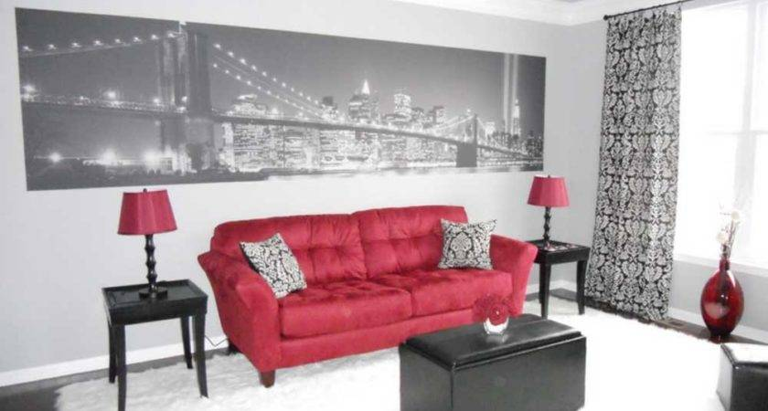 Red Black White Living Room Wall Paint