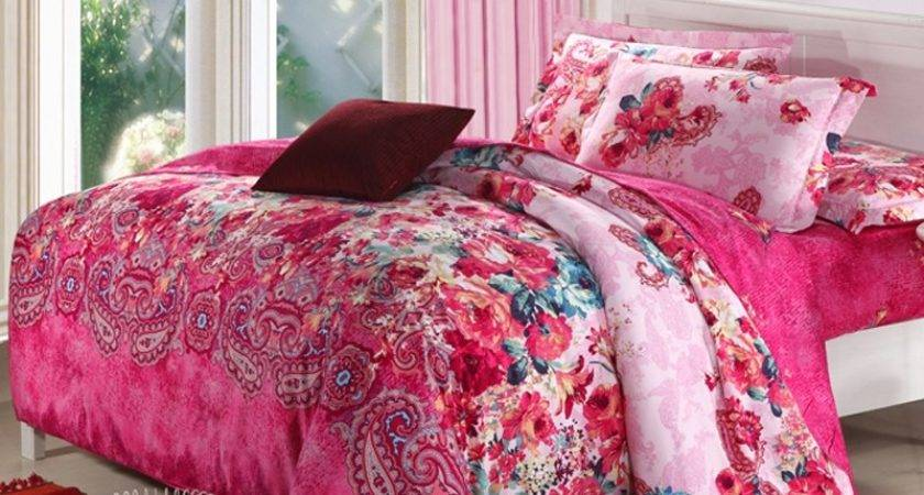 Red Blue Pink Western Paisley Print Colorful