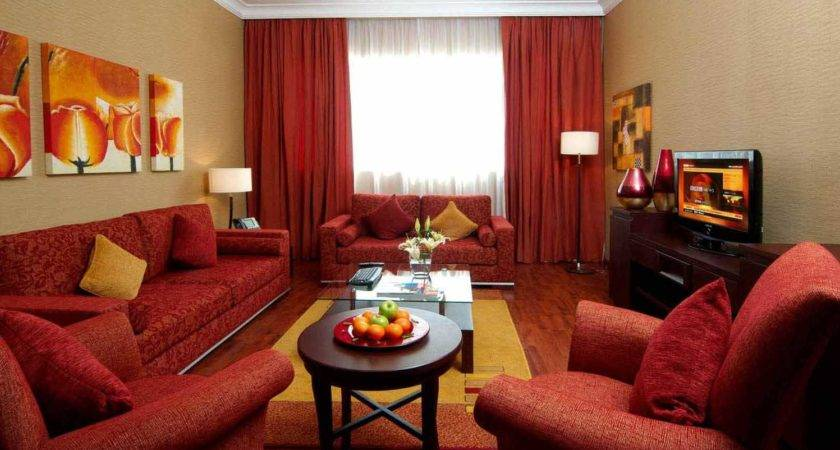 Red Color Living Room Decor Dark Cream Wall Ideas