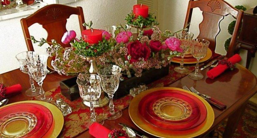 Red Gold Christmas Table Decorations Mouthtoears