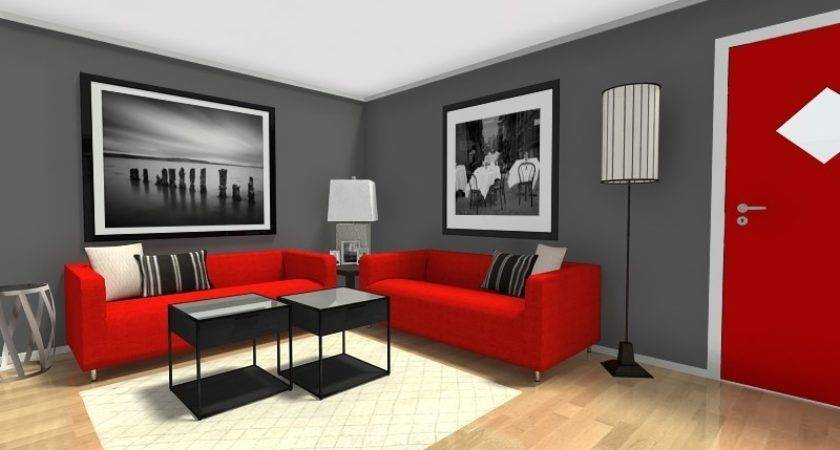 Red Gray Black Living Rooms Coma Frique Studio