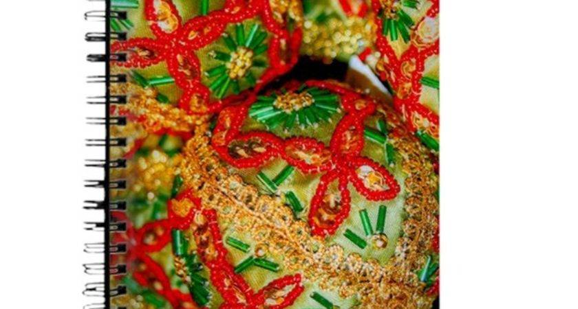 Red Green Gold Christmas Ornaments Journal