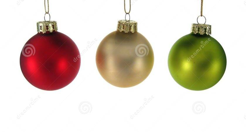 Red Silver Green Christmas Ornaments Isolated