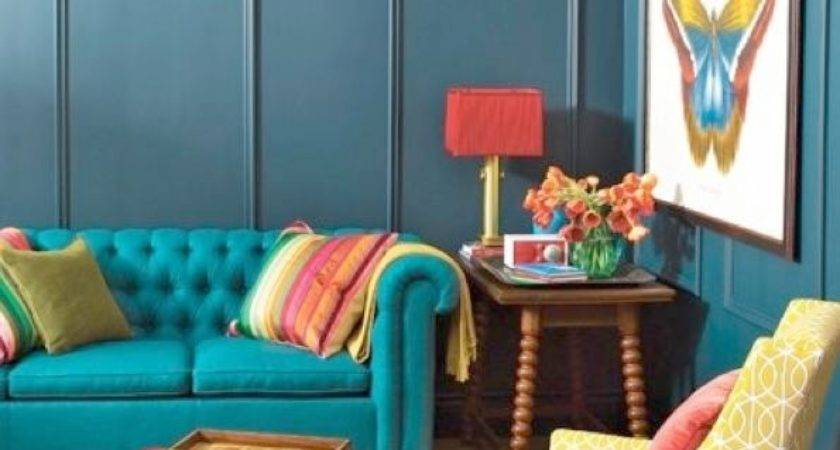 Red Teal Yellow Living Room Home Design