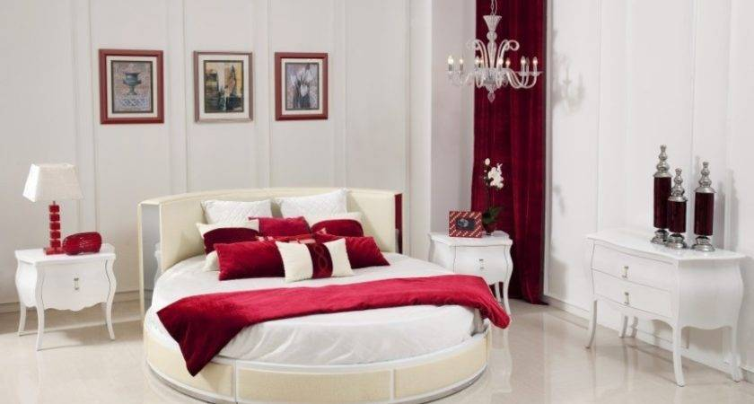Red White Good Bedroom Colors Oval Bed Scheme