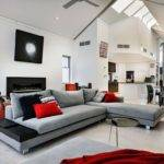 Red White Living Room Interior Designs Home
