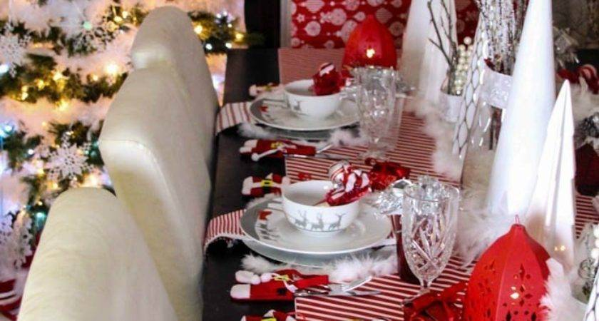Red White Silver Christmas Tablescape Worthey Life