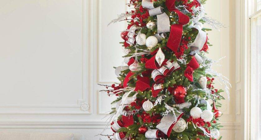 Red White Silver Christmas Tree Decorations