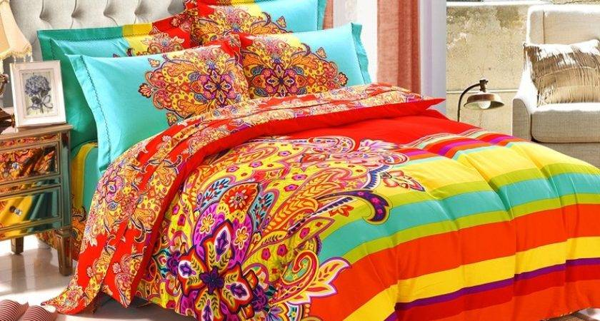 Red Yellow Light Turquoise Colorful Exotic Bohemian