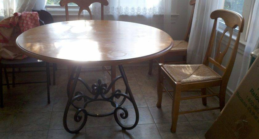 Reduced Funky Round Wood Iron Kitchen Table