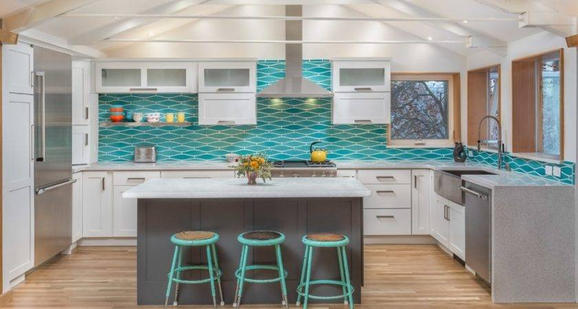 Remodeled Kitchen Wavy Turquoise Backsplash White