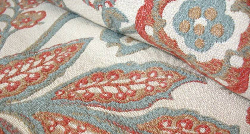 Reserved Nin Coral Blue Floral Home Decor Fabric