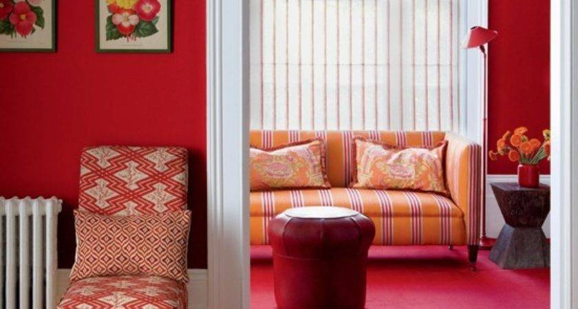 Rich Red Living Room Rooms Ideas