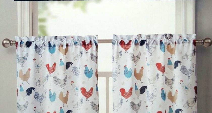 Rooster Kitchen Window Curtains Set Floral Tiers Valance