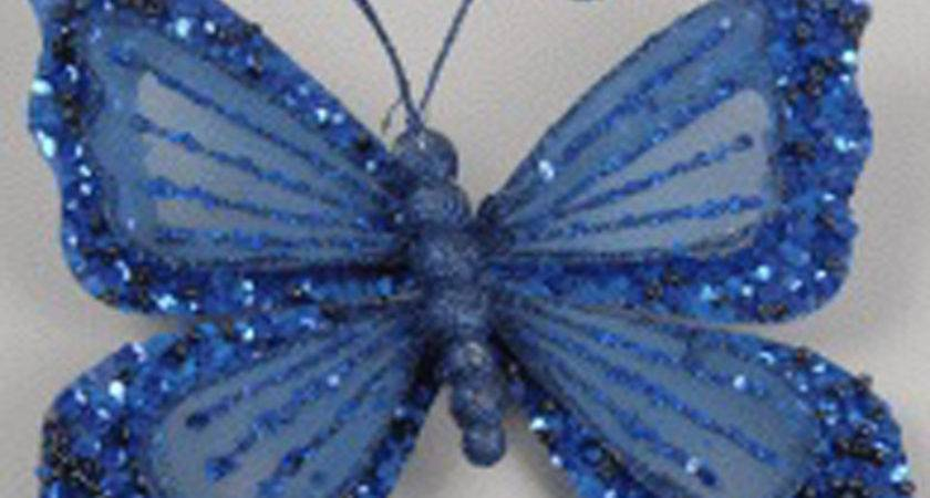 Royal Blue Butterfly Clip Decorations