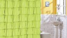 Ruffle Fabric Shower Curtain Color Green Ebay