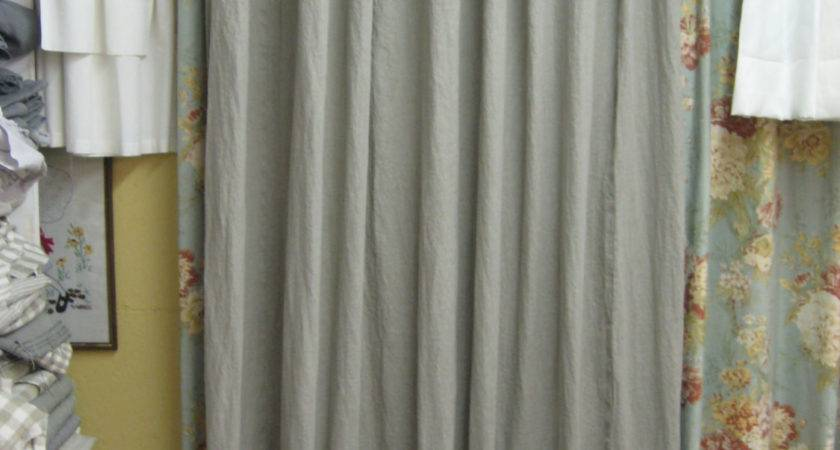 Ruffled Shower Curtain Washed Linen White Bath Linens
