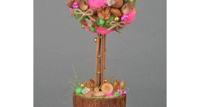 Rustic Christmas Kitchen Table Decor Topiary Nuts
