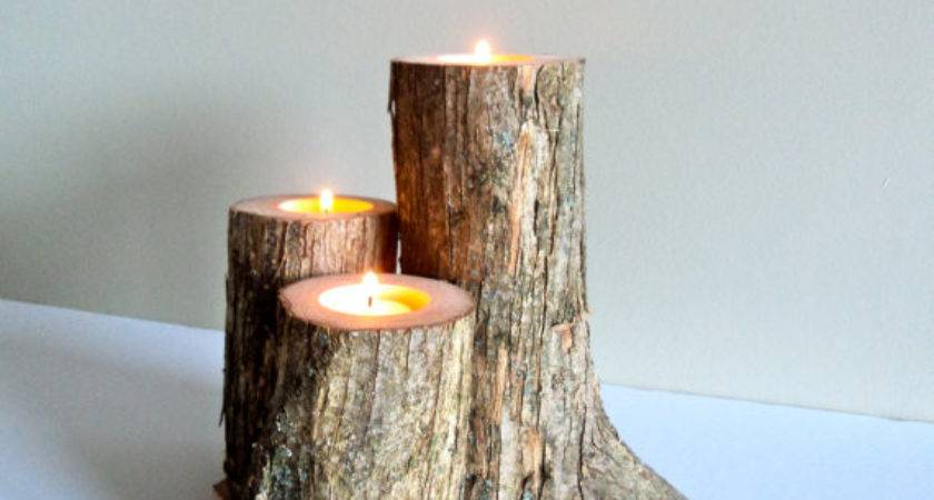 Rustic Log Candle Holders Crookedroots Etsy
