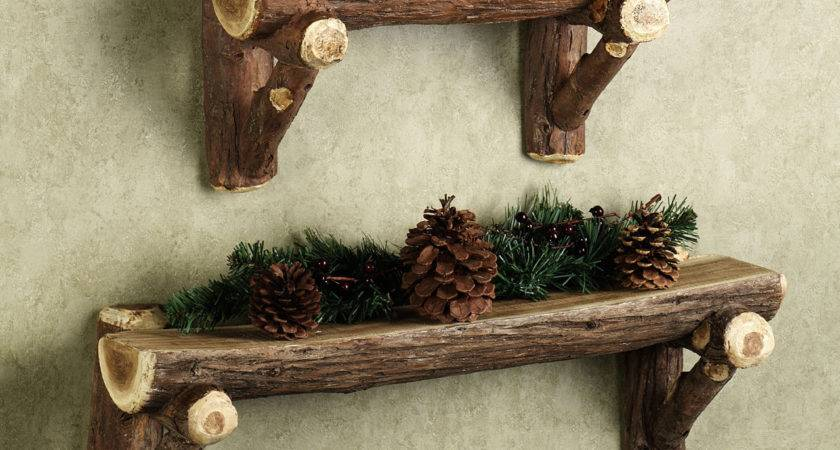 Rustic Timber Log Wall Shelf Wood Decorations Natural