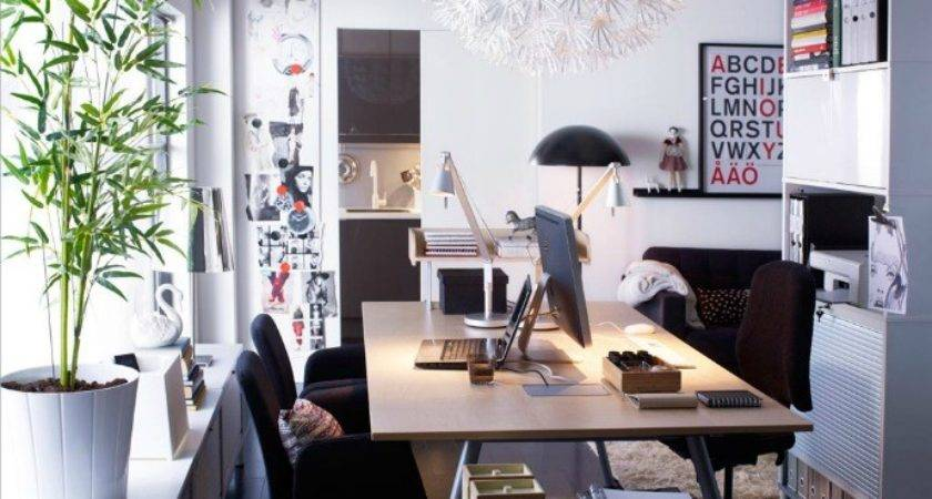 Scandinavian White Red Home Office Space Interior Design