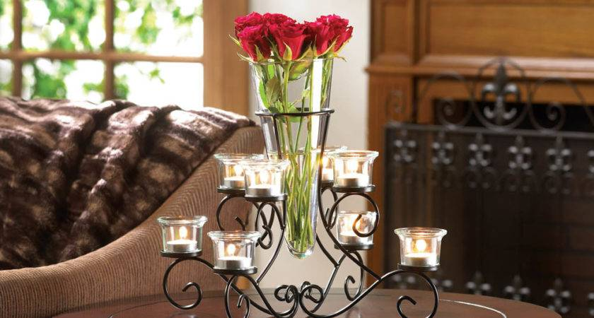 Scrollwork Candle Stand Centerpiece Vase Eastwind