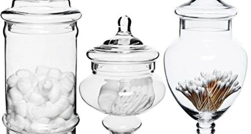 Set Deluxe Apothecary Jar Sets Glass Kitchen