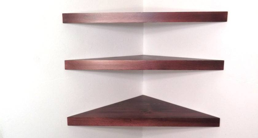 Set Inch Floating Corner Shelves Black Cherry