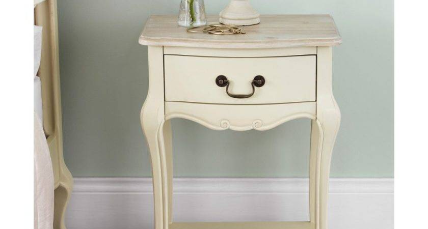 Shabby Chic Champagne Drawer Bedside Table Bedroom