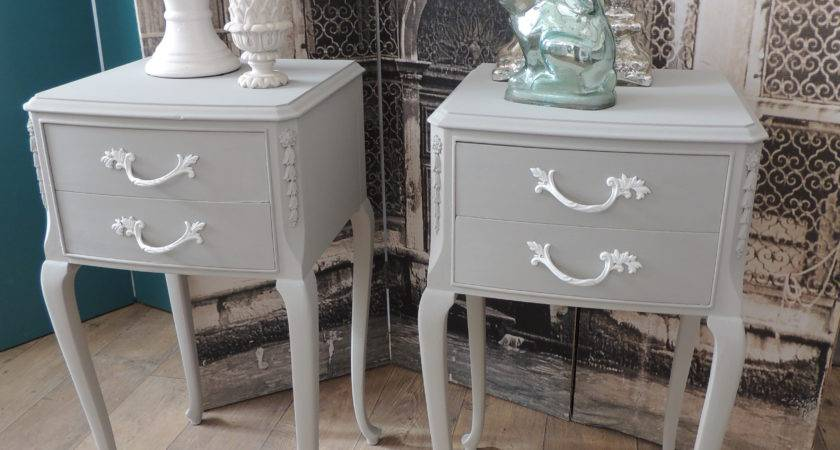 Shabby Chic Pair French Style Bedside Tables