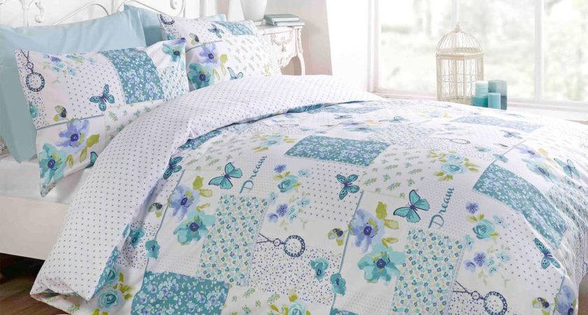 Shabby Chic Patchwork Duvet Cover Floral Reversible Teal