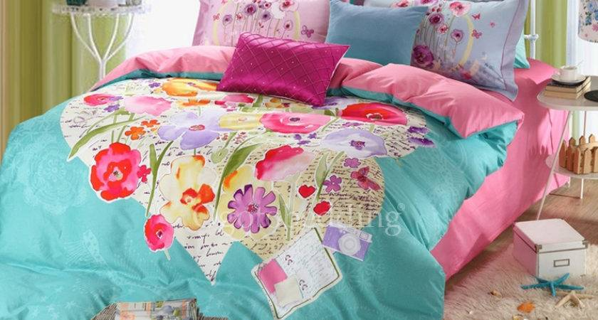 Shabby Chic Teal Floral Country Cotton Bed Bag