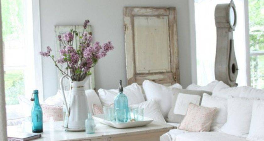 Shabby Chic White Sofa Rachel Ashwell Denim
