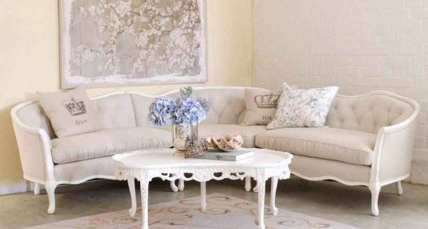 Shabby Cottage Chic Cream White Tufted Sectional Sofa