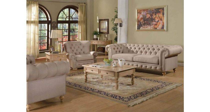 Shantoria Living Room Set Beige Linen Fabric