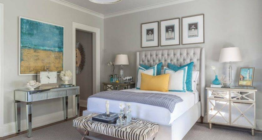 Show House Bedroom Ideas Gray Turquoise