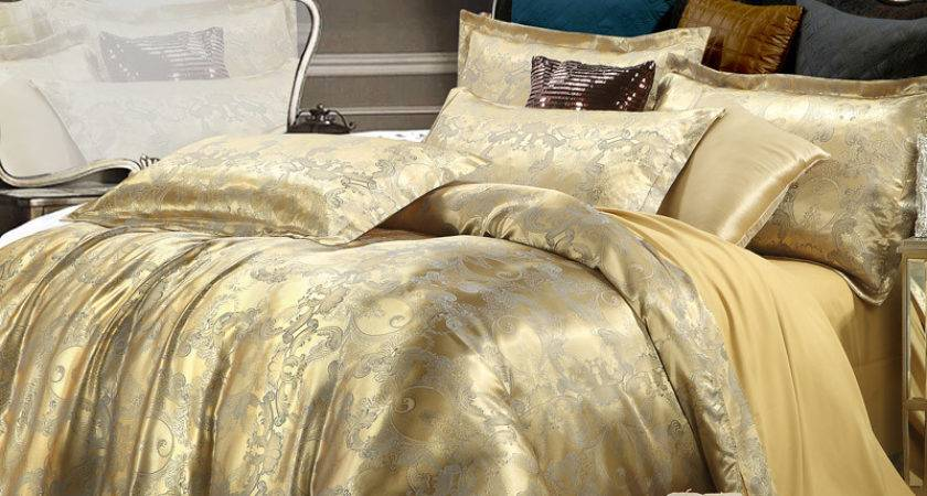 Silk Tencel Satin Jacquard Bed Linen Bedding Set Queen
