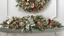 Silver Green Decorated Pre Lit Mantle Swag Frontgate