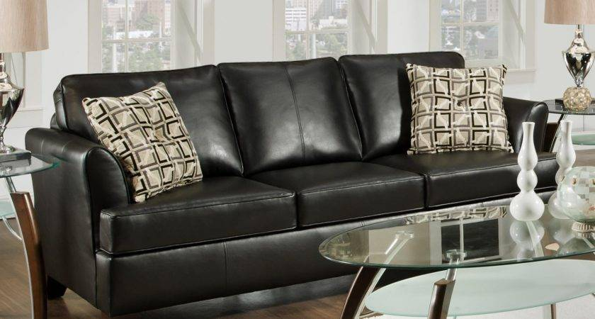 Simmons Urban Onyx Leather Sofa Accent Pillows