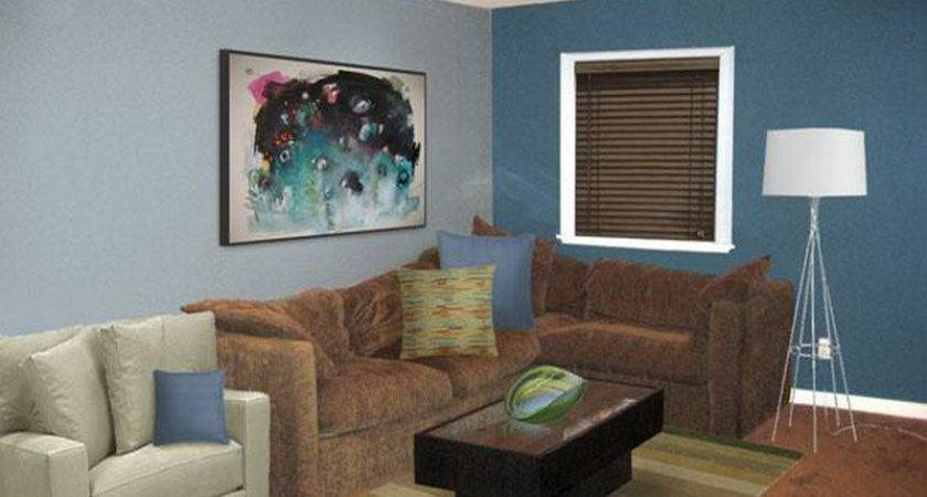 Simple Brown Blue Living Room Ideas Home Interior Design