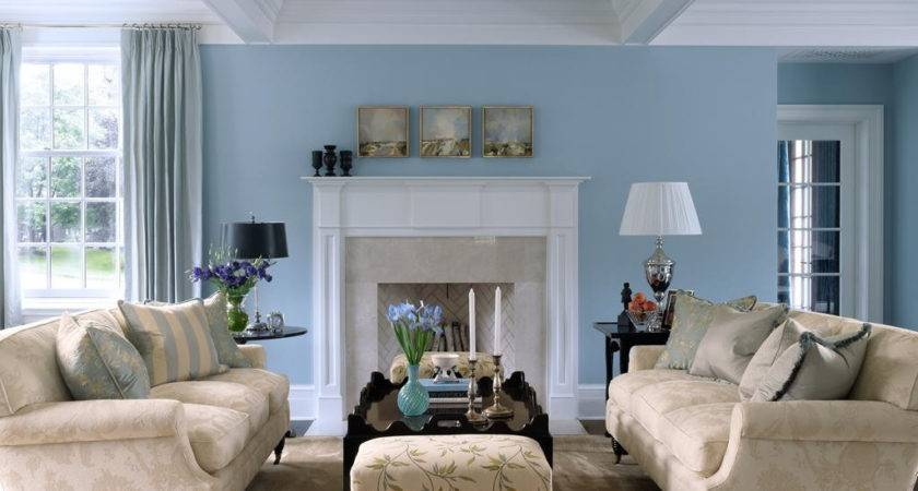 Sky Blue Color Living Room Home Combo