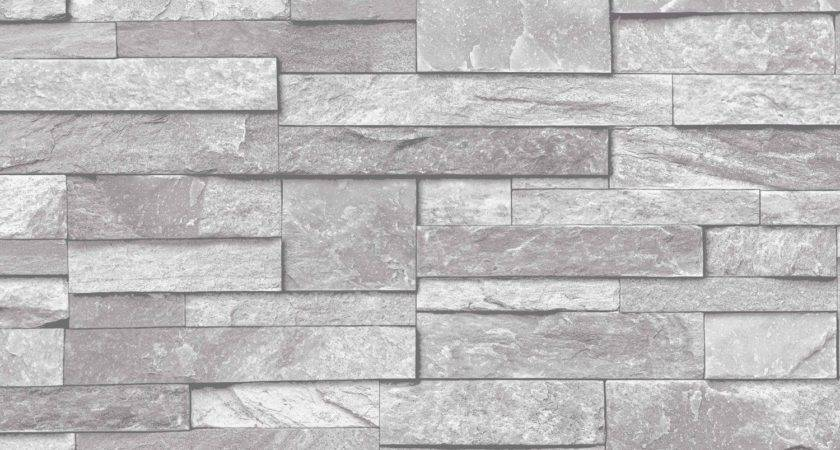 Slate Stone Brick Effect Washable Vinyl